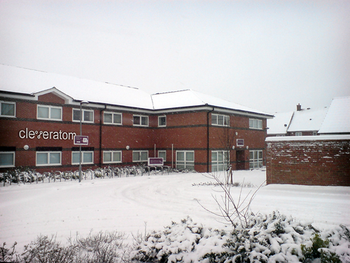 Cleveratom office block in the snow